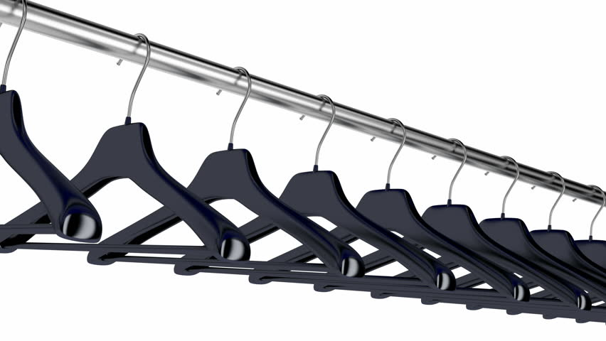 Plastic hangers hanging on rod