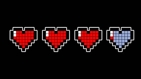 Pixel hearts animation simulating a video game's life bar with Alpha channel.