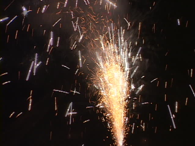 Fireworks explode in the sky.