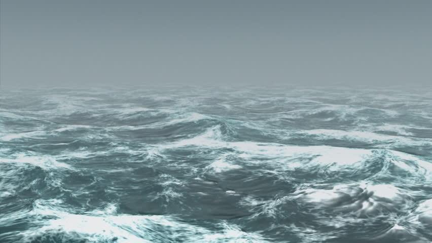 Ocean white caps ripple in the mist. #1388260