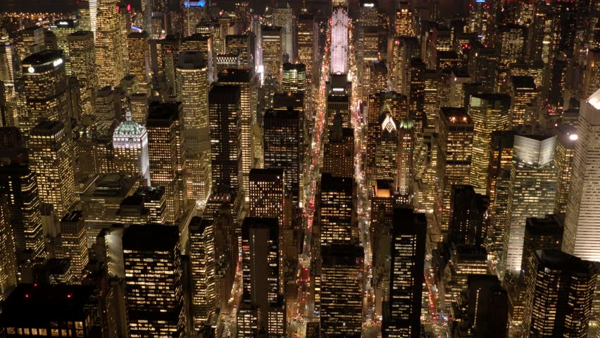 Aerial view of new york city skyline at night. establishment shot of metropolis cityscape background | Shutterstock HD Video #13897742