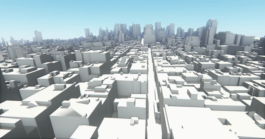 4k abstract urban business construction,flying over 3D Virtual Geometric City Office Buildings,aerial view of NewYork,web tech. cg_03240_4k