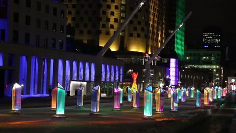 MONTREAL, CANADA -23 January 2015: Luminotherapy art installation, Prismatica, at Place des Festivals in Montreal's Quartier des Spectacles
