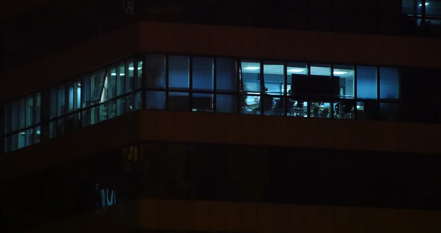 4k Office building windows lighting at night & urban architecture glass house. gh2_08393_4k #13958396