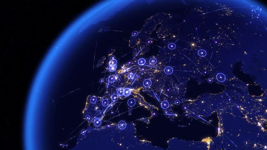 Global communications through the network of connections over Europe. Concept of internet, social media, traveling or logistics. High resolution texture of city lights at night. 4k - Ultra HD. | Shutterstock HD Video #13968395