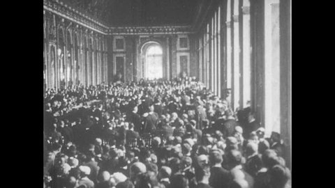 FRANCE 1919: Men Sign Treaty at the Versailles Peace Conference