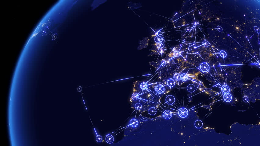 Global communications through the network of connections over Far East, Asia, Europe and America. Concept of internet, social media, traveling. High resolution texture of city lights at night. 4k.