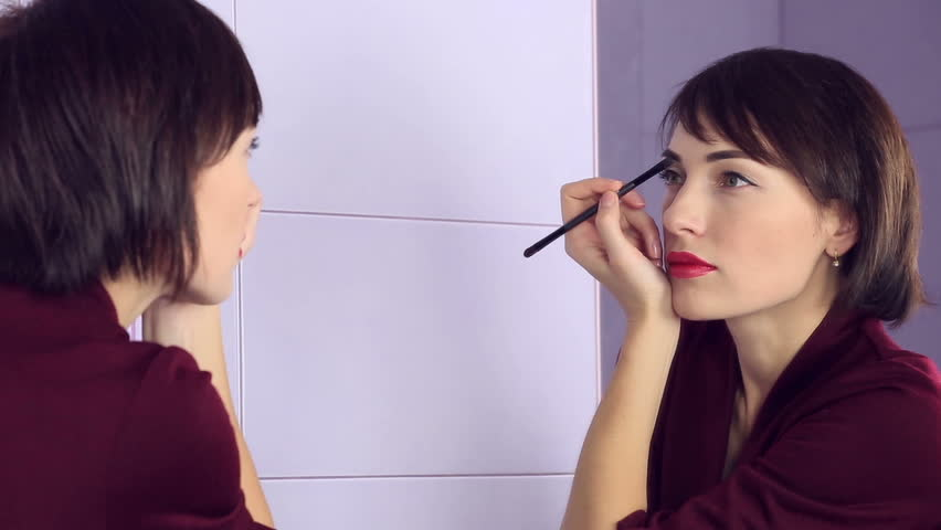 Beauty Woman Applying Makeup Beautiful Stock Footage Video 100