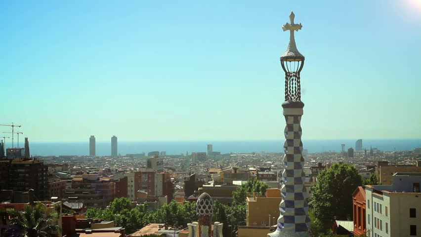 BARCELONA, SPAIN - 20 MAY, 2015: The Park Guell aka Parc Guell is a public park system of gardens and architectonic elements located on Carmel Hill designed by Catalan architect Antoni Gaudi | Shutterstock HD Video #14068250