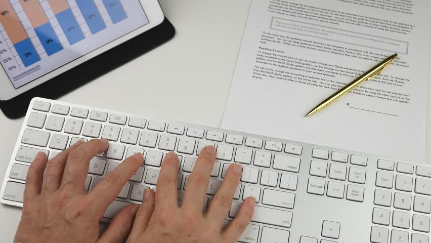Womans hands Typing on Keyboard in Office  | Shutterstock HD Video #14110097