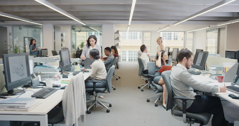 Busy Activity In Diverse Business Office With Business