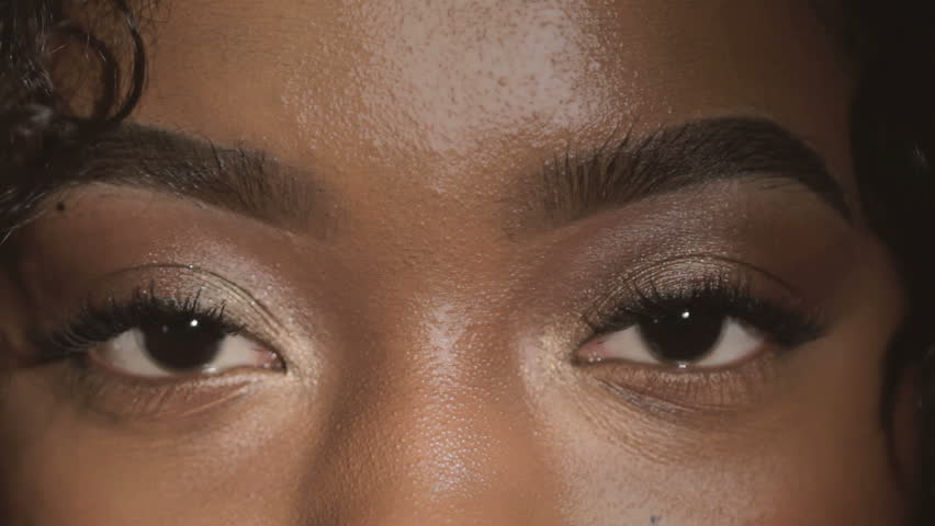 Beautiful young African American woman eyes closeup  #14151215