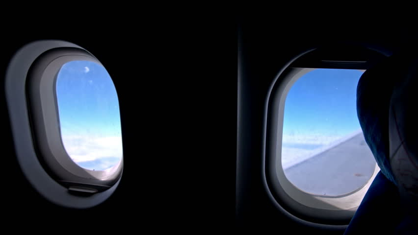 Hd0008Airplane Windows From Inside Contrast Image Of View Through Airplane While Flying Above Clouds Two Ellipse