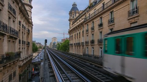 PARIS - MAY 2015: Coming subway train on Passy station