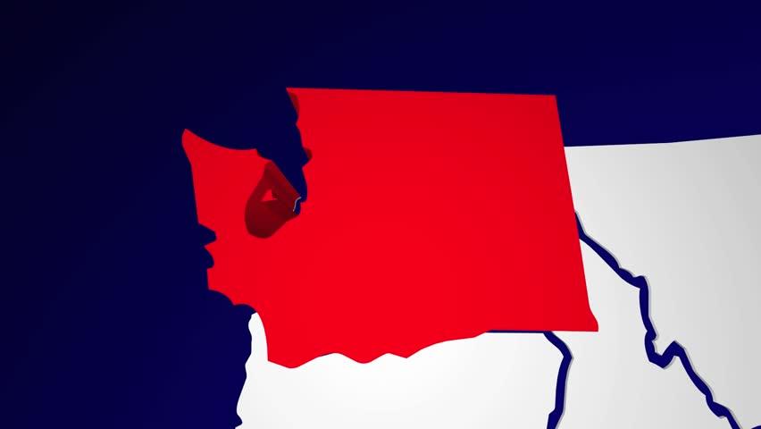 Washington Wa Animated State Map Usa Zoom Close Up Hd Stock Footage Clip