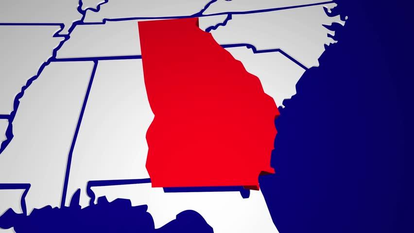 Georgia Ga Animated State Map Usa Zoom Close Up Hd Stock Footage Clip