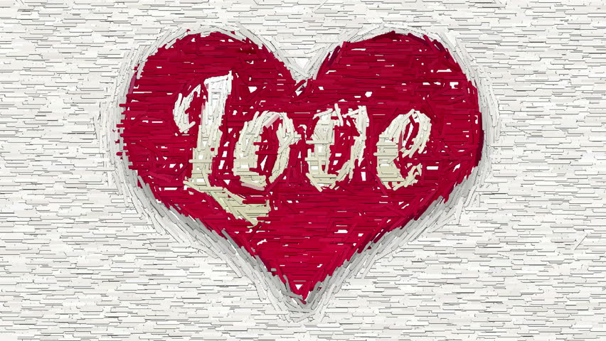 Love Inscription Inside Red Heart Stock Footage Video 100 Royalty