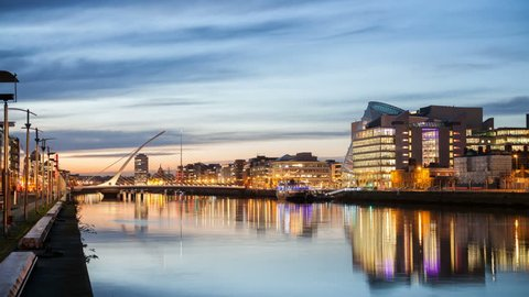 4K, 4096, 2304, time laps video of the City centre and river Liffey with Samuel Beckett Bridge during sunset. Dublin, Ireland