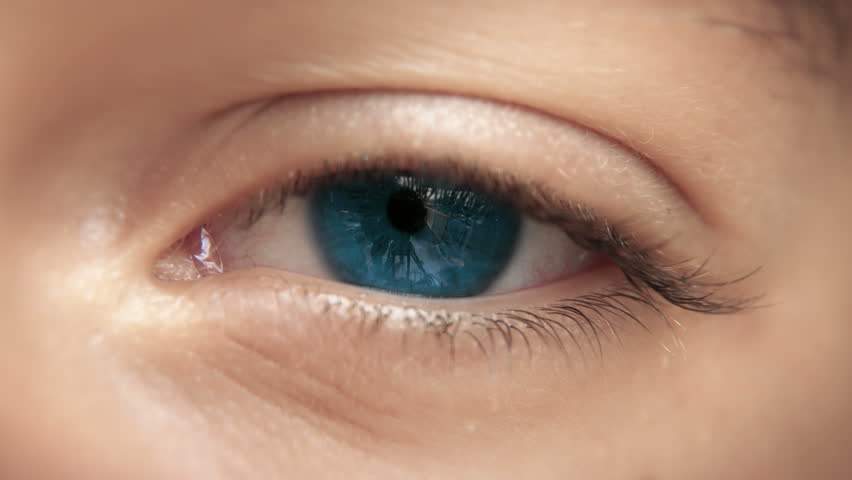 Zoom through eye, optic nerve into brain neurons. Blue eye. Loopable 4K.  | Shutterstock HD Video #14235230