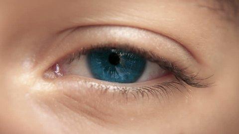 Zoom through eye, optic nerve into brain neurons. Blue eye. Loopable 4K.