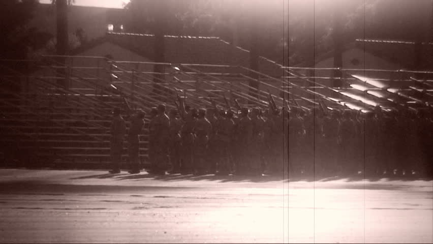 Archival shot of Marines practicing drill