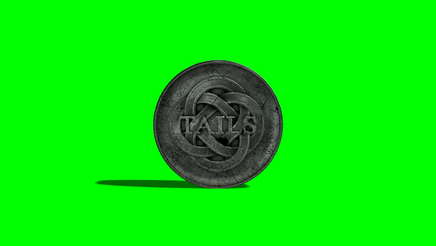A worn antique silver coin with a heads and tails side spinning on a green screen background | Shutterstock HD Video #14263547