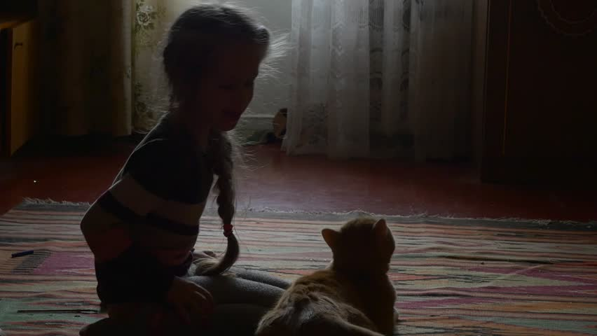 Little Blonde Girl, Kid's Siluet is stroking a Cat, Pats the orange tabby cat, Cat is Nervous, smelling the girl's knees, cat wags tail, Girl with long braid in Wool sweater is sitting on a carpet, | Shutterstock HD Video #14283160