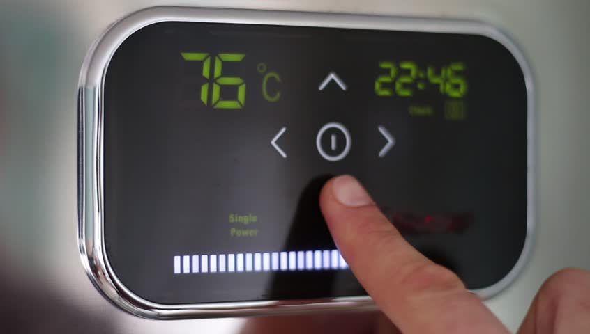 Water heater. Touch panel. Temperature down. Sensory board. Setting of the water temperature. Electronic control. Heating