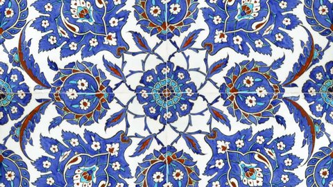 Traditional blue Turkish tiles found in one of the Imperial Ottoman Mosques interior walls in Istanbul Turkey.