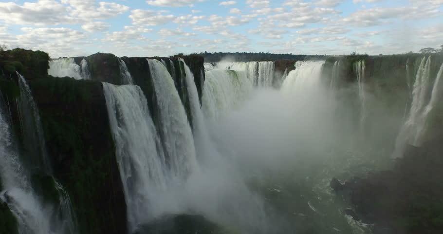 Jun,2015 - Misiones Province, Argentina/Parana State, Brazil: drone aerial shot of the Iguazu Falls which borders Misiones Province, Argentina/Parana State, Brazil | Shutterstock HD Video #14325499