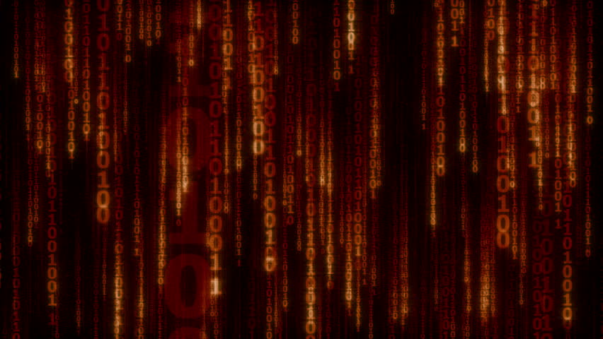 Cyberspace with red - orange digital falling lines, binary chain, abstract animated background - seamless loop | Shutterstock HD Video #14340790