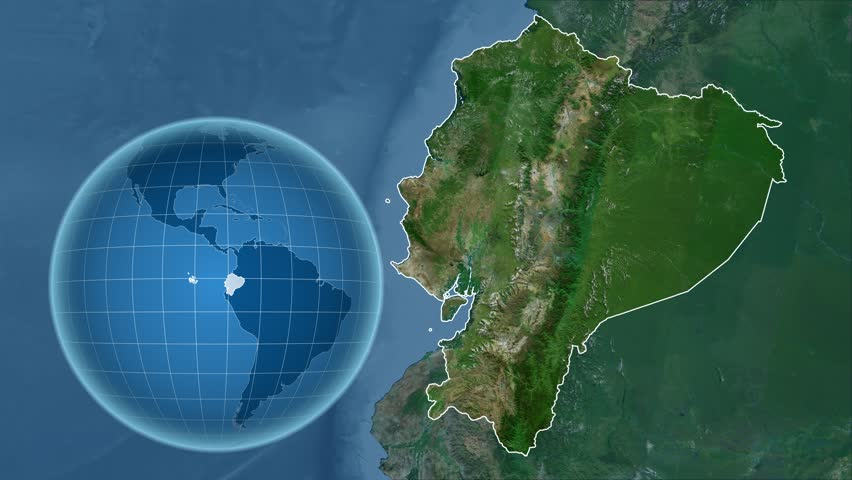 Equatorial Guinea Shape Animated On The Physical Map Of The Globe - Physical map of ecuador