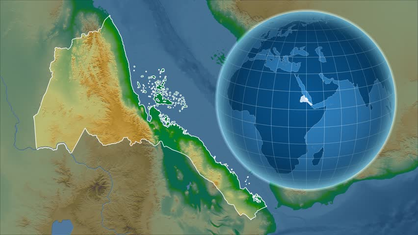 Eritrea Shape Animated On The Physical Map Of The Globe Stock