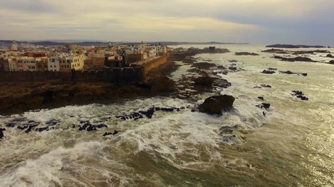 Morocco: Drone footage of coast in Essaouira Ramparts and the Medina of Essaouira in Morocco near Marrakech in Africa