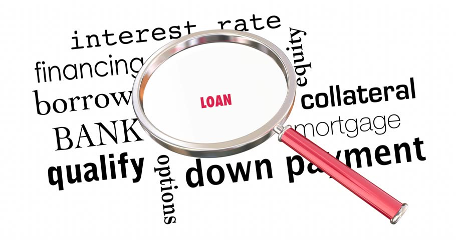 Loan Magnifying Glass Mortgage Borrow Money Words 4K