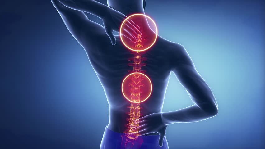 Man spine hurt - backbone injury pain concept