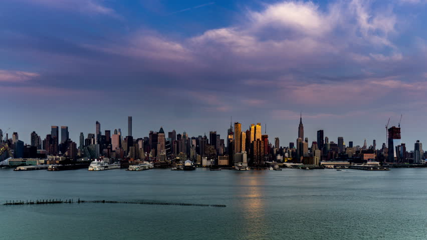 New York City, USA-Jul 12,2015: At sunset,the panoramic view of modern buildings in Manhattan, New York City, NY
