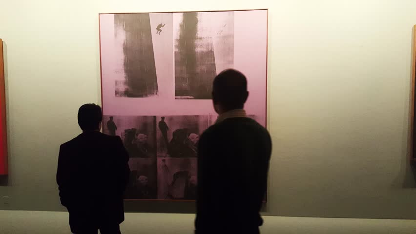 TEHRAN, IRAN, DEC 2015: People looking at a painting by Andy Warhol in Tehran museum of contemporary art considered to have the most valuable collection of Western modern art outside Europe & US