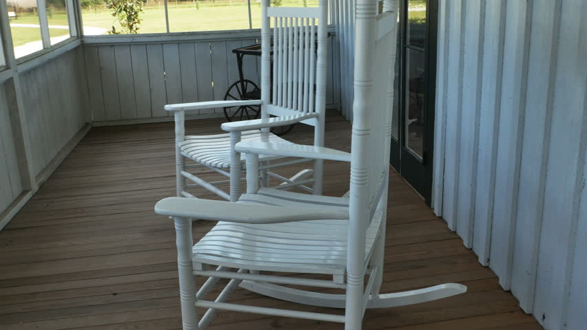 Two Wooden White Rocking Chair On Front Porch Moving Stock Footage Video  14519260 | Shutterstock