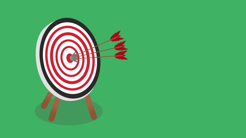 Success and Strategy Concept - Arrow Bullseye Target with space for your text. Arrows Shooting Target Darts over green screen background, reach your goal concept.