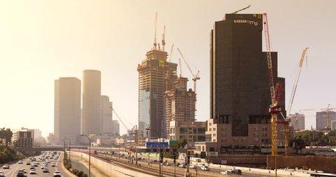 TEL AVIV, ISRAEL - JANUARY 30, 2016: Skyscraper Construction Sites In Tel aviv, Timelapse in motion, Hyperlapse - 4k
