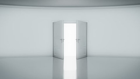 4K Door Opening with white background (alpha matte). You can replace background.