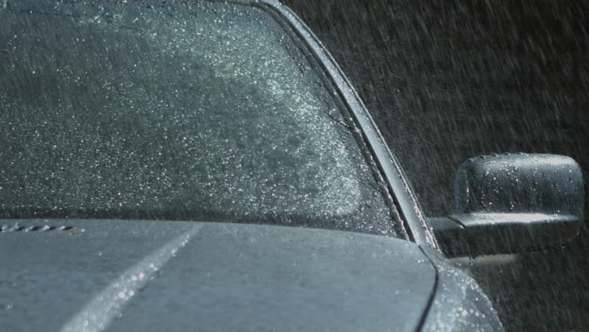 Car Windscreen Wiper during Rain - Slow Motion