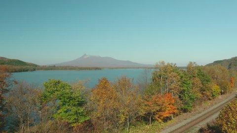 Autumn Lakeside & Railway at Onuma, Hokkaido, Japan.