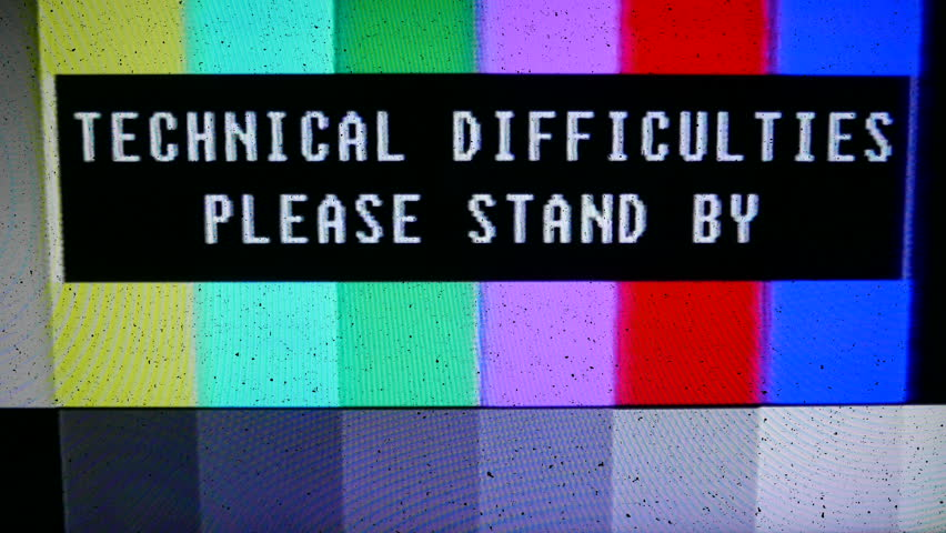 Color bars test broadcast pattern with text technical difficulties please stand by, static. All original elements manipulated on analog tape, captured with a 4K camera and assembled in Premiere.
