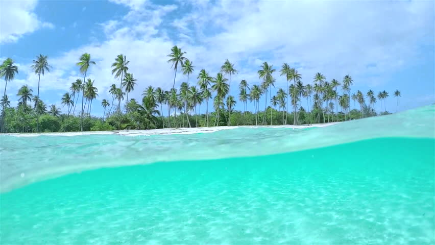 SLOW MOTION HALF UNDERWATER CLOSE UP: Beautiful tropical island with tall palm trees on white sandy exotic beach and amazing crystal clear blue ocean lagoon