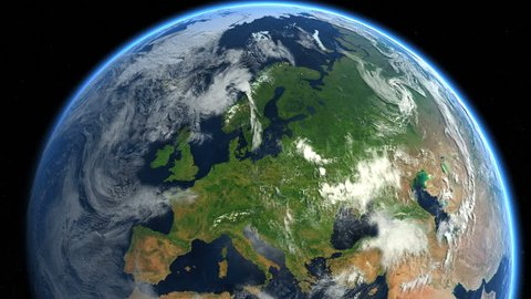 Zoom to Europe. The European states from space. Clip contains earth, europe, zoom, space, map, globe, satellite, planet, european, european union. Images from NASA.