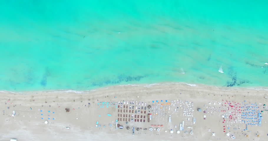 Aerial video of South Beach, Miami Beach. Amazing bird's view on most famous beach. 4K video.