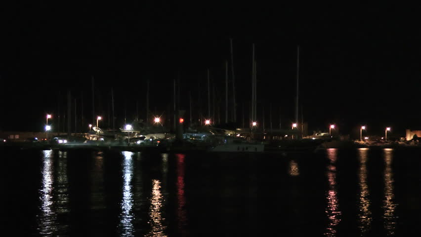 Rhodes city port. Rhodes island. Greece.Night video.