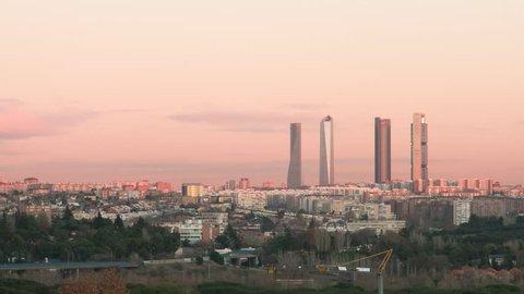 Madrid skyline sunset buildings